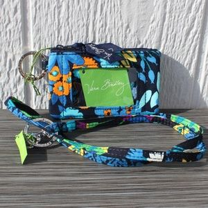 Vera Bradley Zip ID Case & Lanyard Midnight Blues